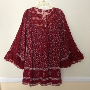 Free People Dress burgundy and Lace